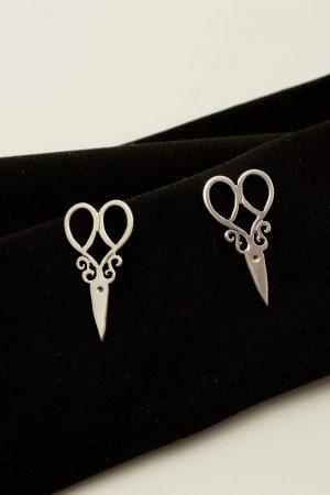 scissors earrings silver